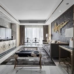 简约中透着轻奢质感,融合中式元素的家——客厅图片