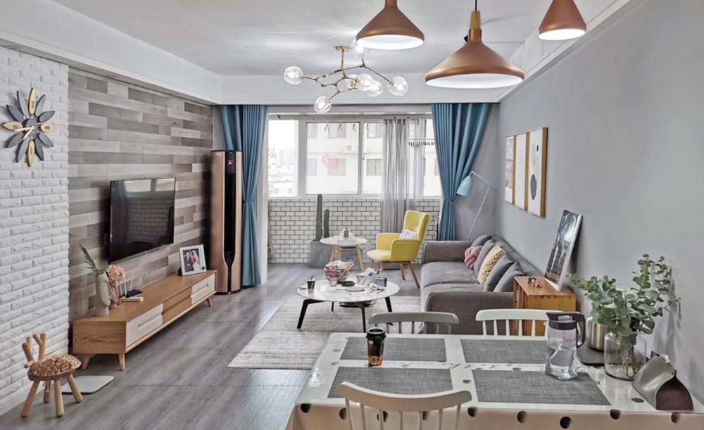 83㎡北欧风,新婚小两口的浪漫之家客厅北欧极简客厅设计图片赏析