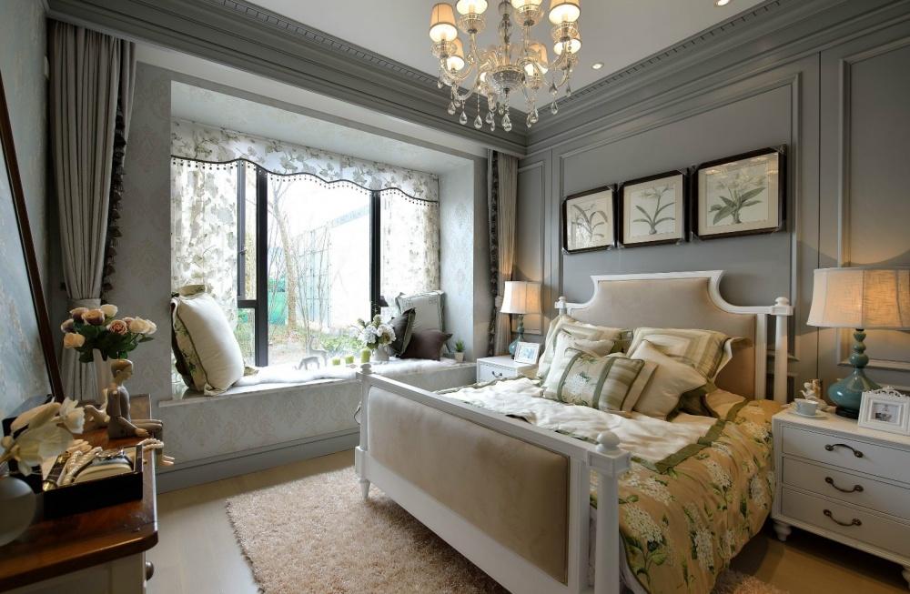 吉安市房屋装修设计,二手房,套房,纯设计卧室窗帘2图美式经典卧室设计图片赏析