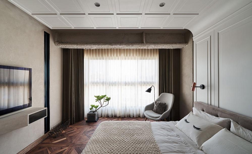 优雅的工业风公寓卧室卧室设计图片赏析