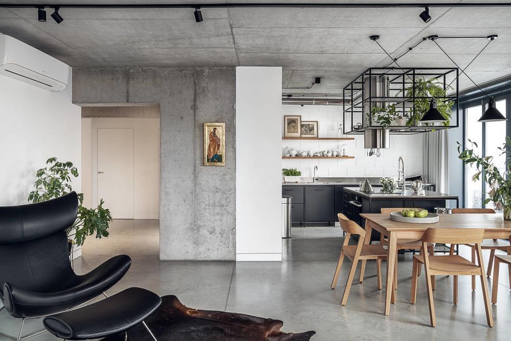 波兰工业风顶层公寓厨房中式现代餐厅设计图片赏析
