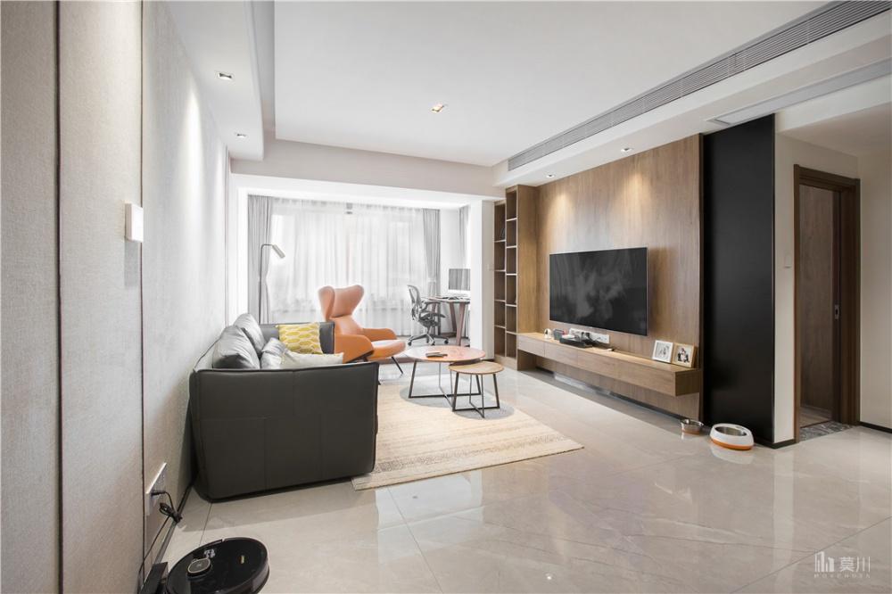 木系电视背景墙,90㎡这么装超高级客厅现代简约客厅设计图片赏析