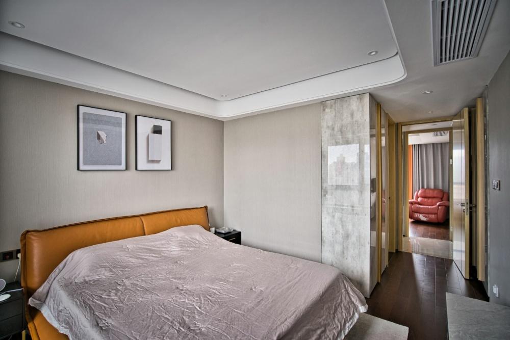 灰色+橙色=随心不随意&时髦显魅力卧室2图现代简约卧室设计图片赏析