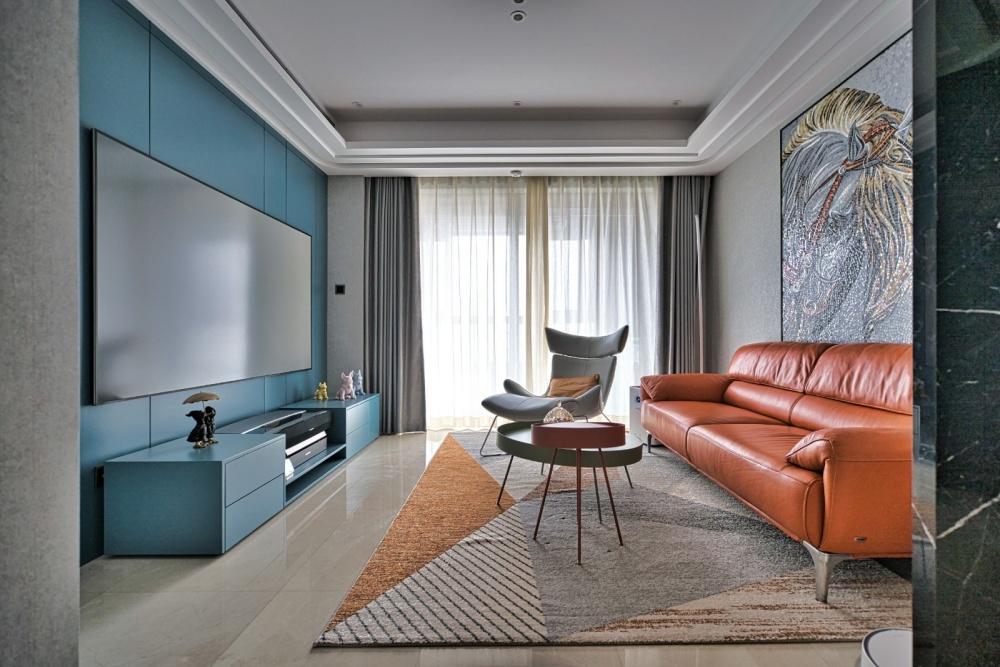 灰色+橙色=随心不随意&时髦显魅力客厅2图现代简约客厅设计图片赏析