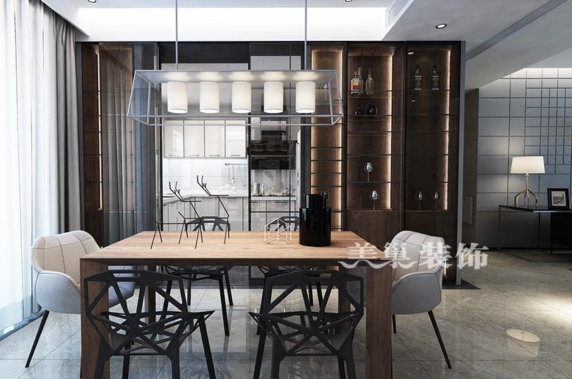 郑州康桥悦城125平三室装修后现代风格厨房现代简约餐厅设计图片赏析