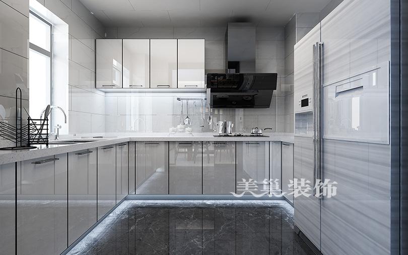郑州康桥悦城125平三室装修后现代风格餐厅现代简约厨房设计图片赏析