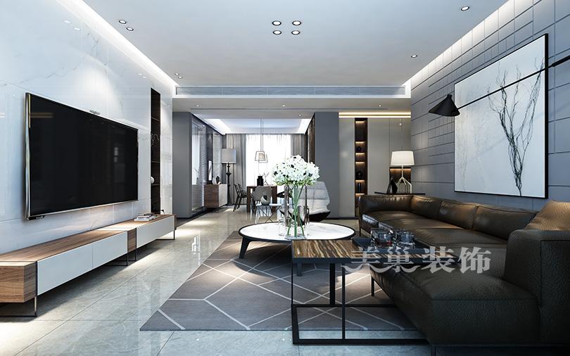郑州康桥悦城125平三室装修后现代风格客厅现代简约客厅设计图片赏析