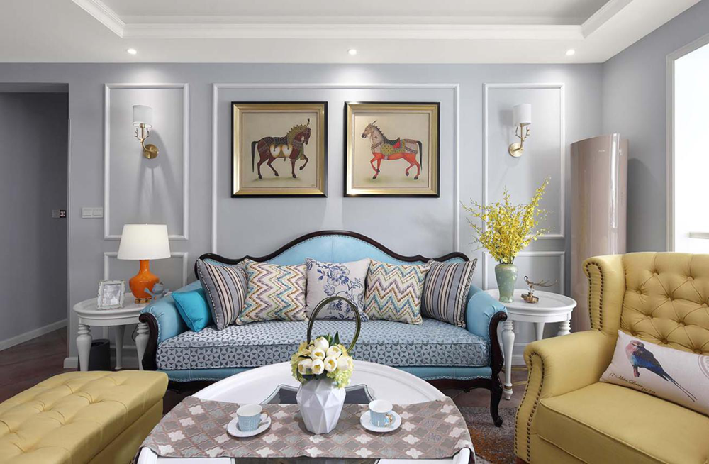 重庆龙湖春森彼岸两居美式设计案例塞维亚客厅美式田园客厅设计图片赏析