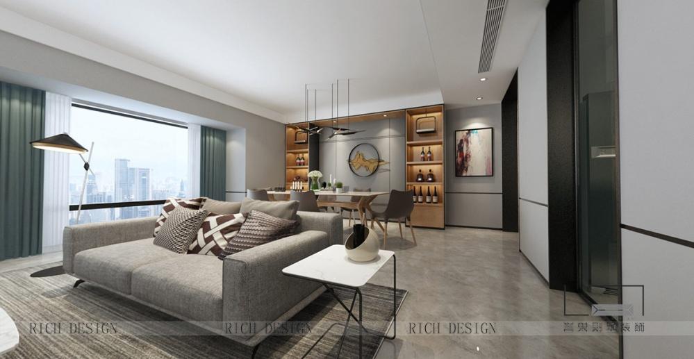 灰色与白色的搭配现代风的别墅客厅现代简约客厅设计图片赏析