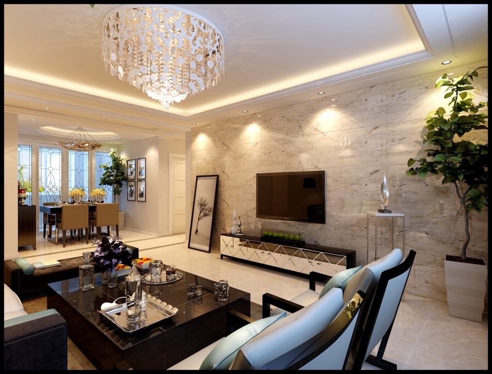 淄博嘉家美装饰鲁班家园144㎡装修案例客厅现代简约客厅设计图片赏析