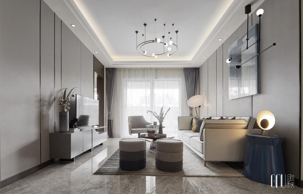 昆明万科城Ⅱ:入时牛仔蓝为摩登家居上色客厅现代简约客厅设计图片赏析