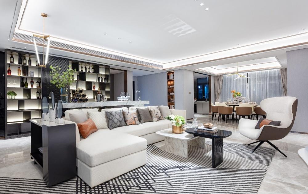 橙调:200㎡+的高级灰大宅客厅现代简约客厅设计图片赏析