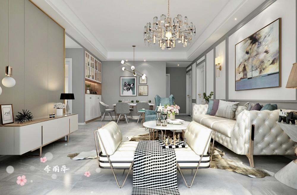 高级灰+轻奢客厅现代简约客厅设计图片赏析