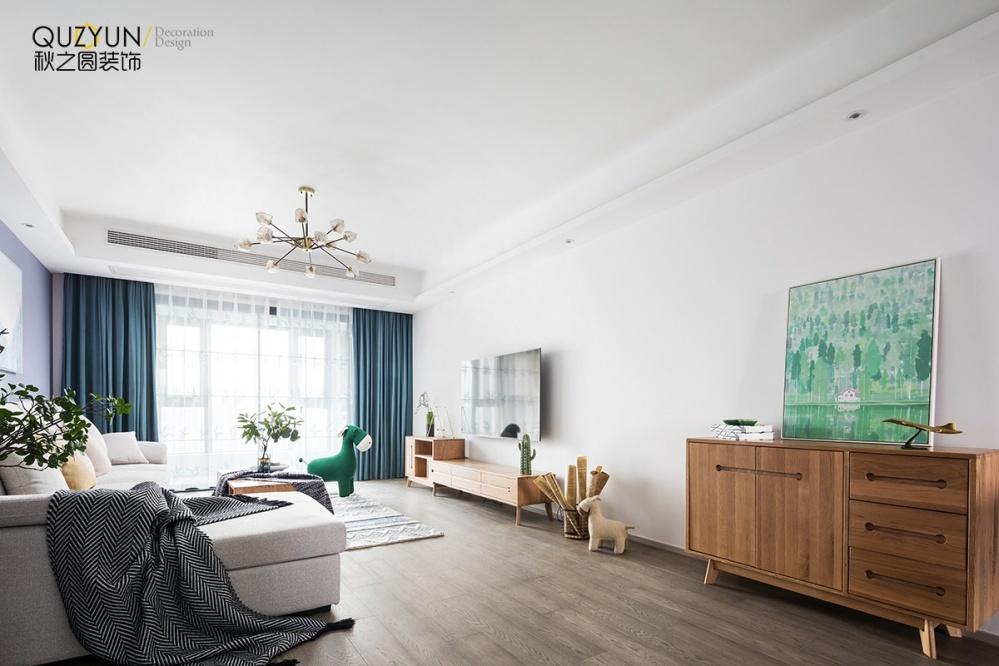 【翡翠锦园】103平北欧+日式混搭客厅北欧极简客厅设计图片赏析