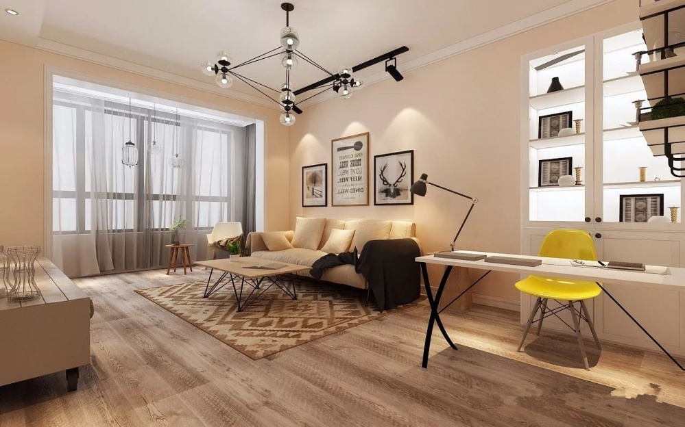 枣庄鸿鑫御景北欧风格装修设计方案效果图客厅北欧极简客厅设计图片赏析