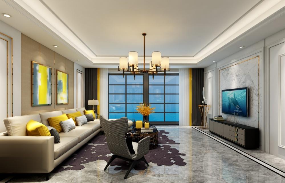 薛城天穹公寓现代简约装修效果图客厅现代简约客厅设计图片赏析