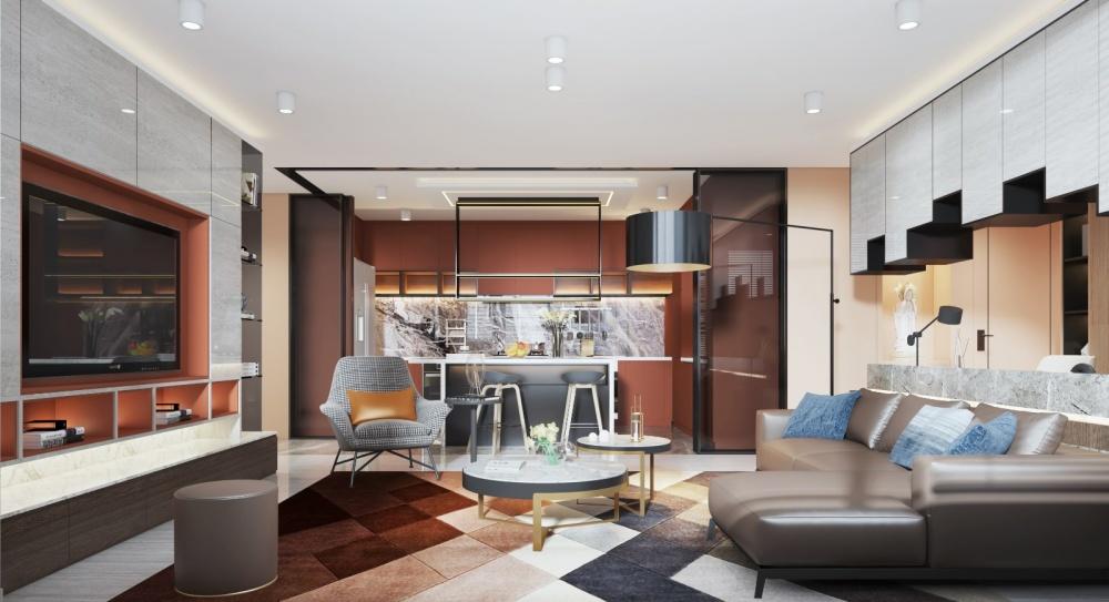 香港美孚新村客厅潮流混搭客厅设计图片赏析