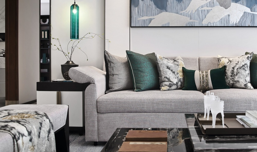 点石亚洲|星河山海湾洋房样板间客厅4图中式现代客厅设计图片赏析