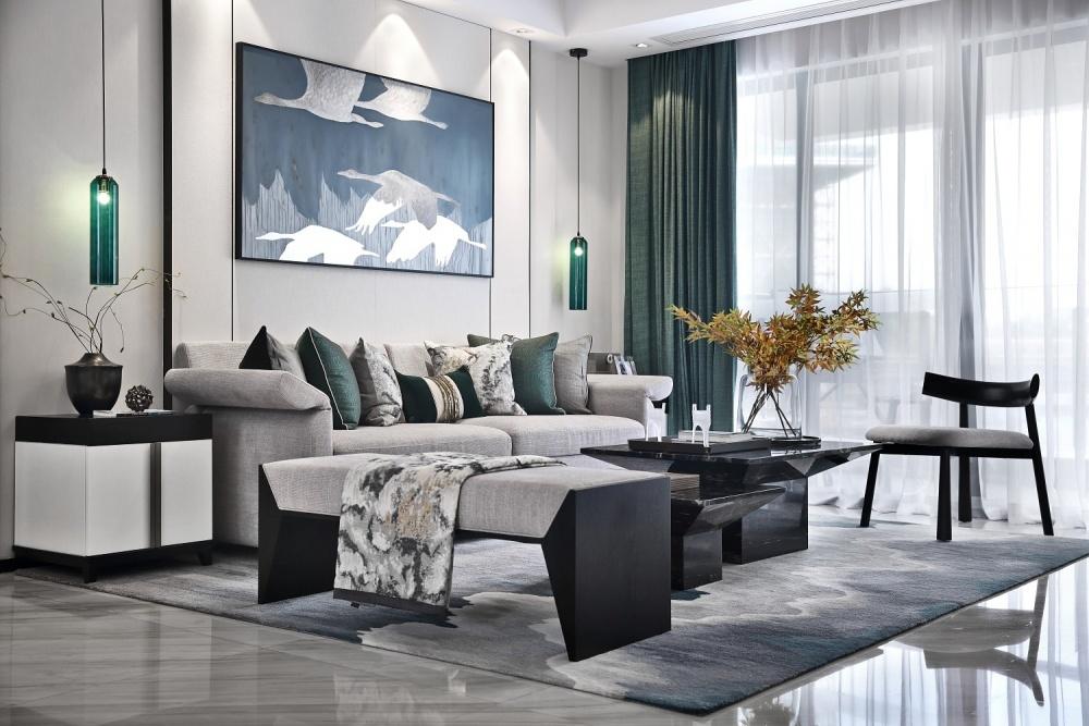 点石亚洲|星河山海湾洋房样板间客厅3图中式现代客厅设计图片赏析