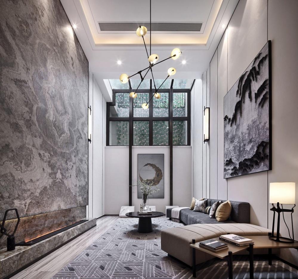 点石亚洲|星河山海湾洋房样板间客厅1图中式现代客厅设计图片赏析