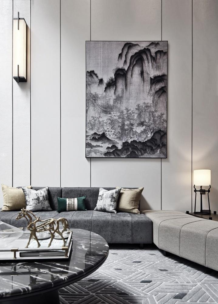 点石亚洲|星河山海湾洋房样板间客厅2图中式现代客厅设计图片赏析