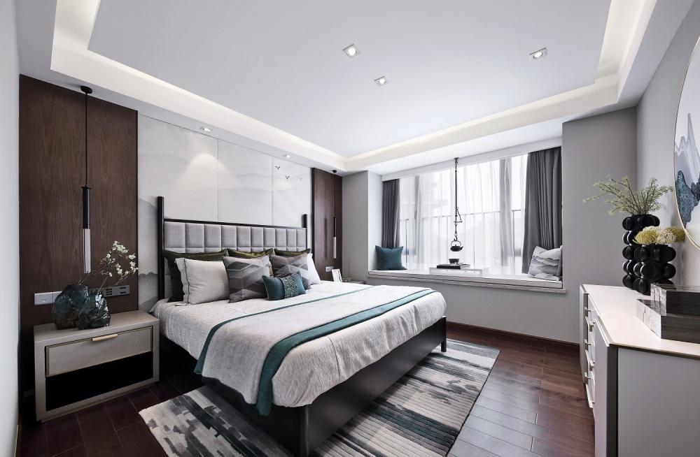 点石亚洲|星河山海湾洋房样板间卧室2图中式现代卧室设计图片赏析