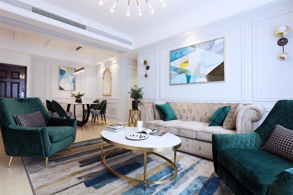 美式轻奢110平米住宅设计客厅其他客厅设计图片赏析
