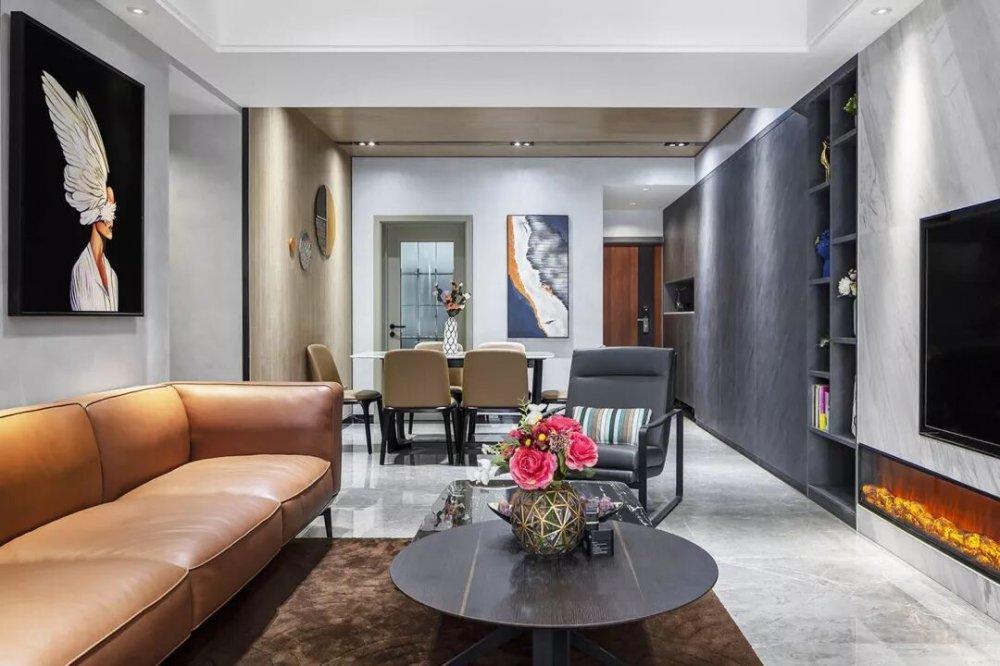 成都红树湾装修设计现代风格客厅现代简约客厅设计图片赏析