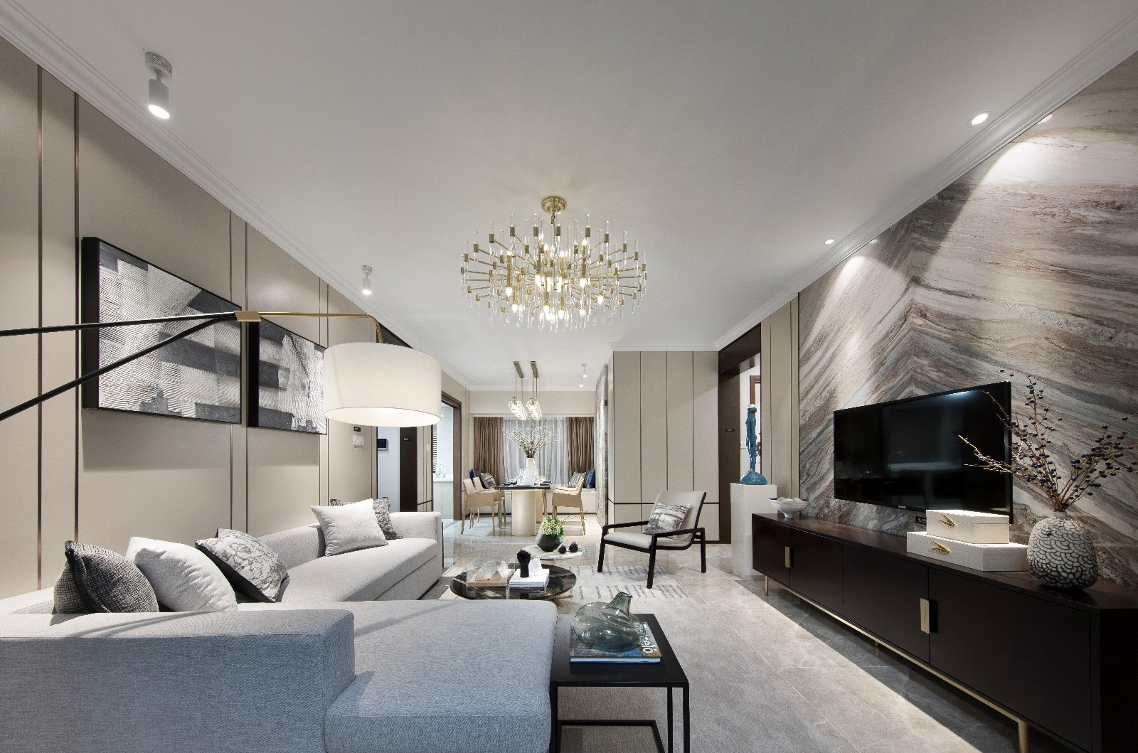 WSD·壹家创意:佛山中南滨江国际!客厅现代简约客厅设计图片赏析