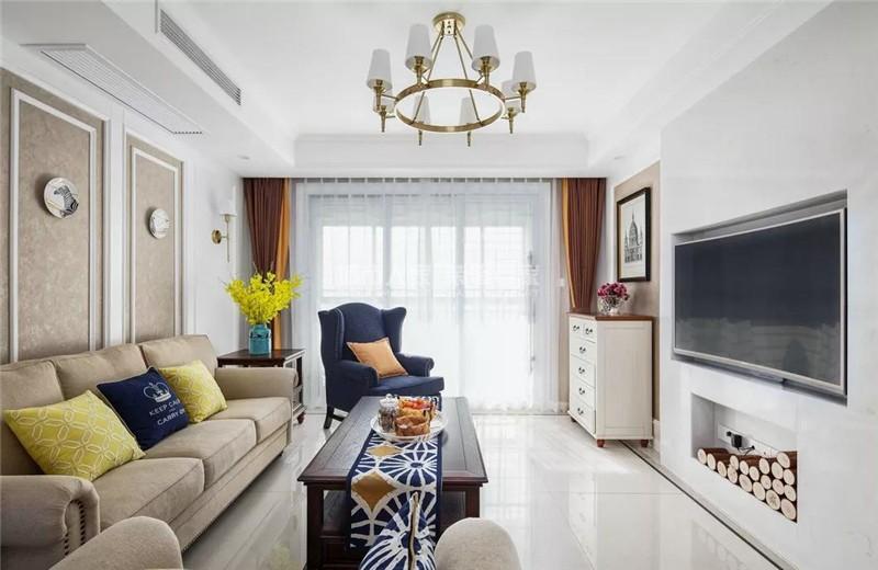【家·设计】薛城公园悦府美式风格客厅美式田园客厅设计图片赏析