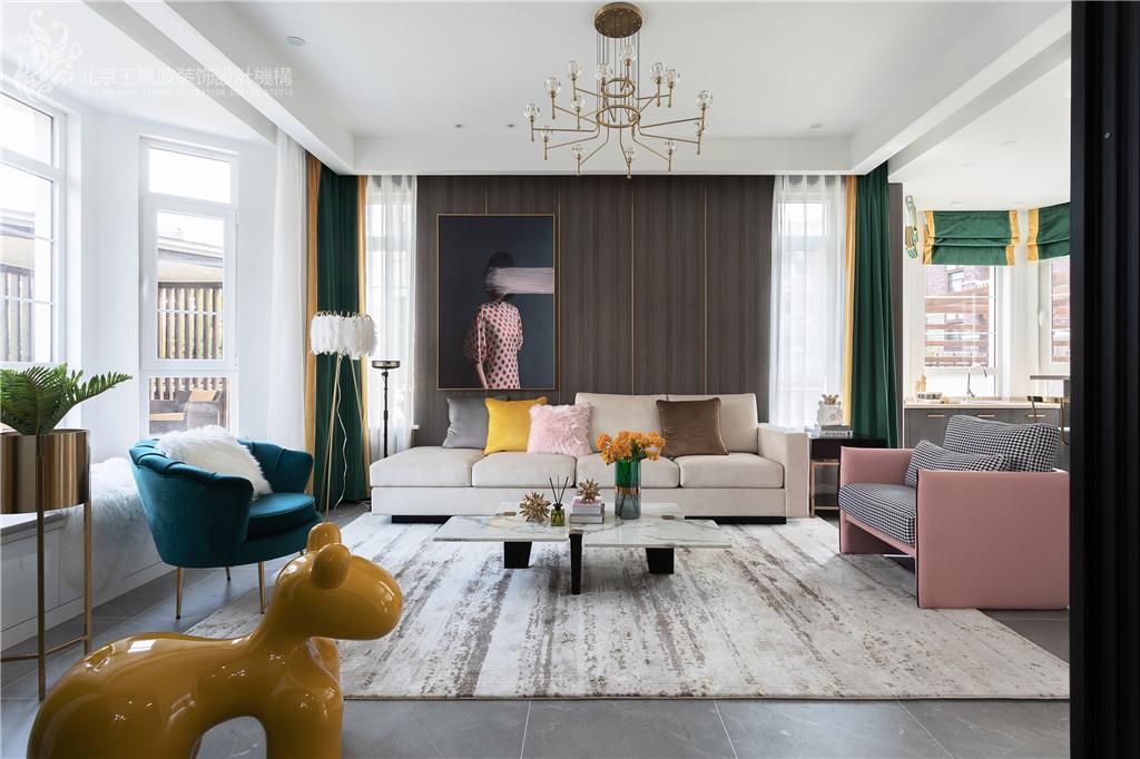 现代轻奢风格,张家口·观澜墅客厅现代简约客厅设计图片赏析