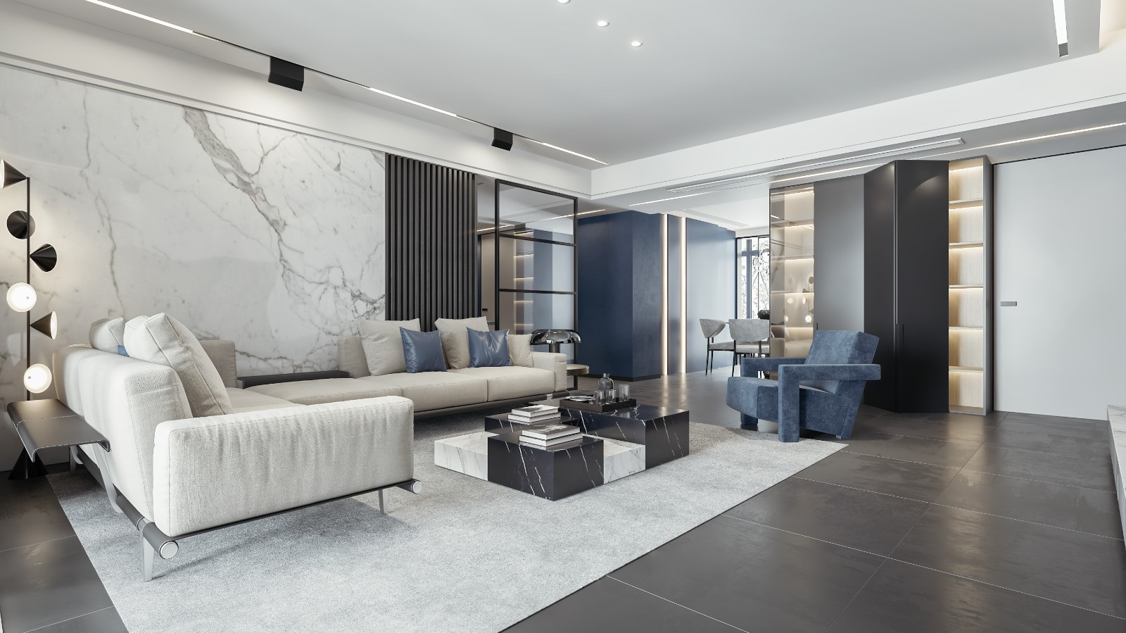 蓝客厅现代简约客厅设计图片赏析