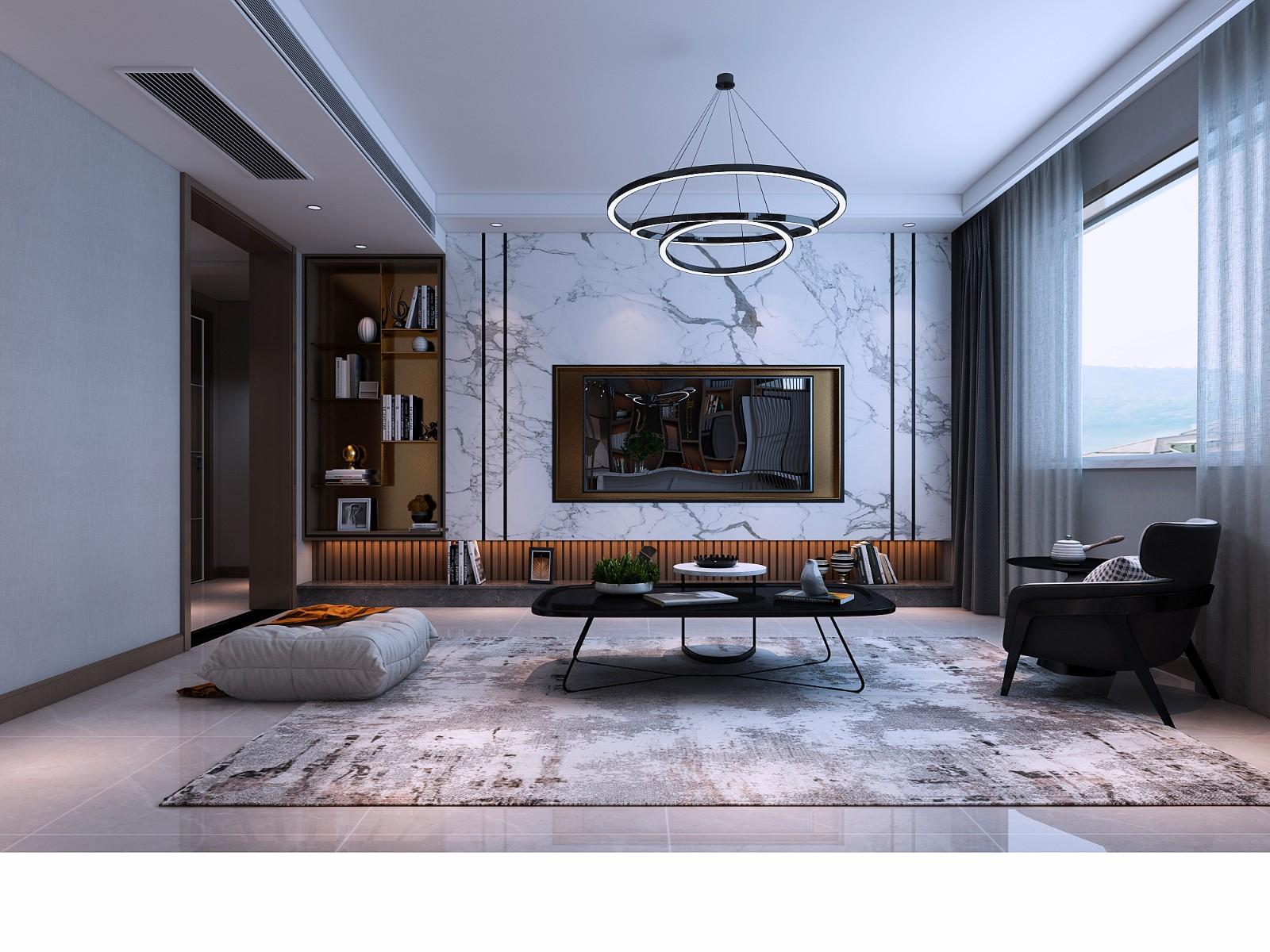 绿城方案客厅现代简约客厅设计图片赏析