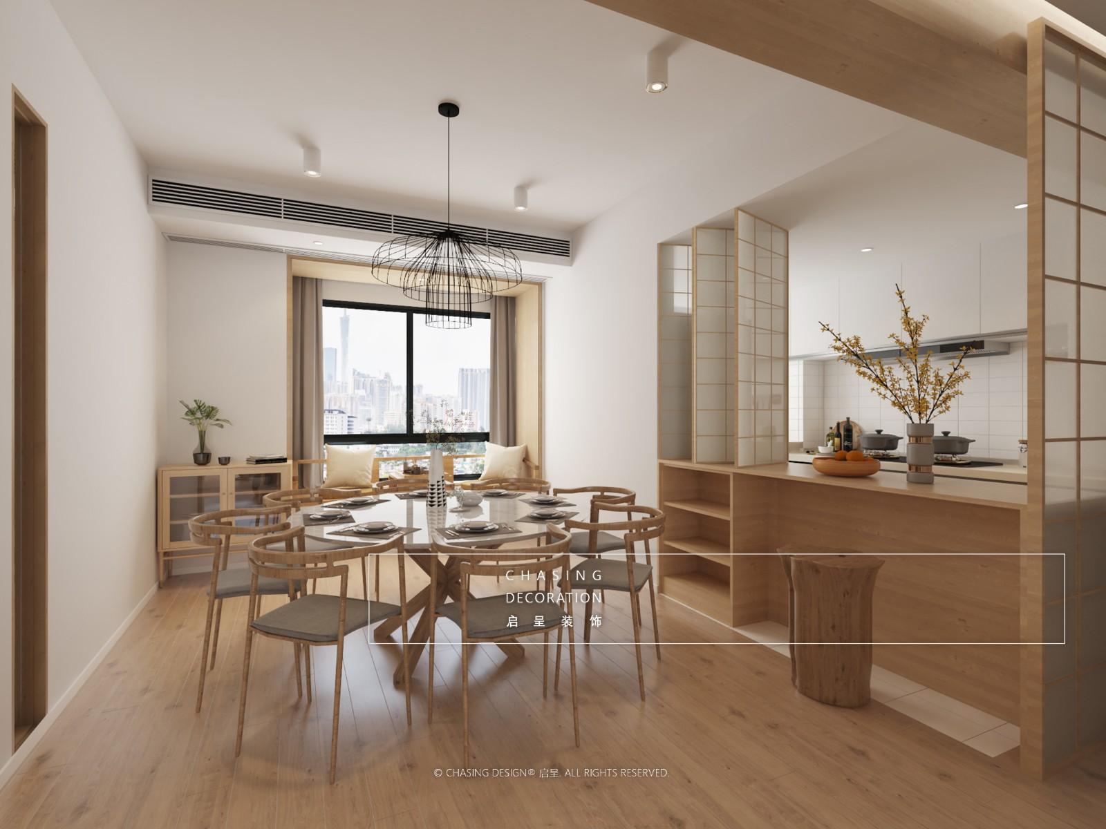 可逸阳光花园厨房日式餐厅设计图片赏析
