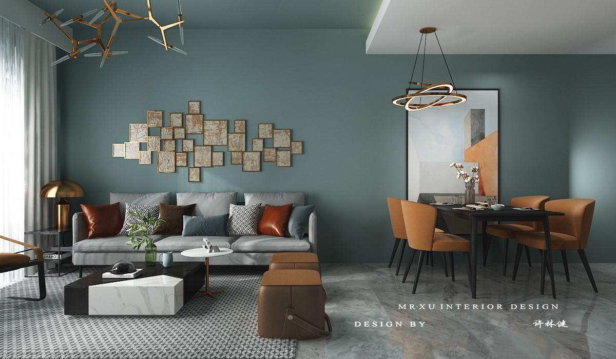 治愈系墨绿撞色客厅北欧极简客厅设计图片赏析