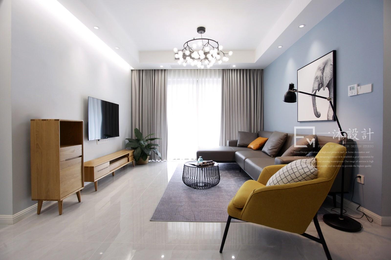一沐设计原创实景丨「蔚蓝*」客厅现代简约客厅设计图片赏析