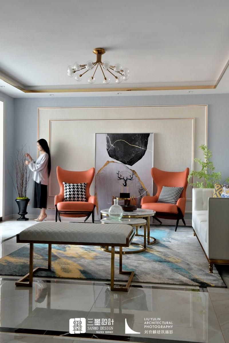 橘子味的夏天客厅现代简约客厅设计图片赏析