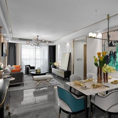重庆智慧小镇云集1-1户型样板间设计——客餐厅图片