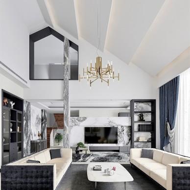 大挑高斜屋顶的现代客厅方案_3954976