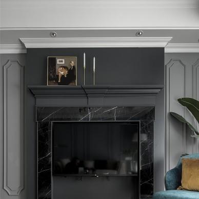 这个家用壁炉电视墙,打造撩人美式轻奢风!_3979326