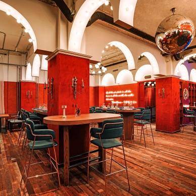 艺科新作|红蓝交织的复古混搭酒吧空间设计_4000119