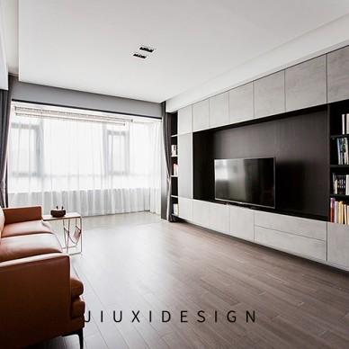 高级灰+纯黑电视墙,精致实用的两居学区房_4054447