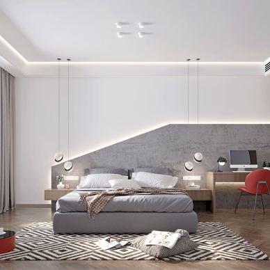 300平米充满艺术感的现代简约三口之家_1585365886_4091372