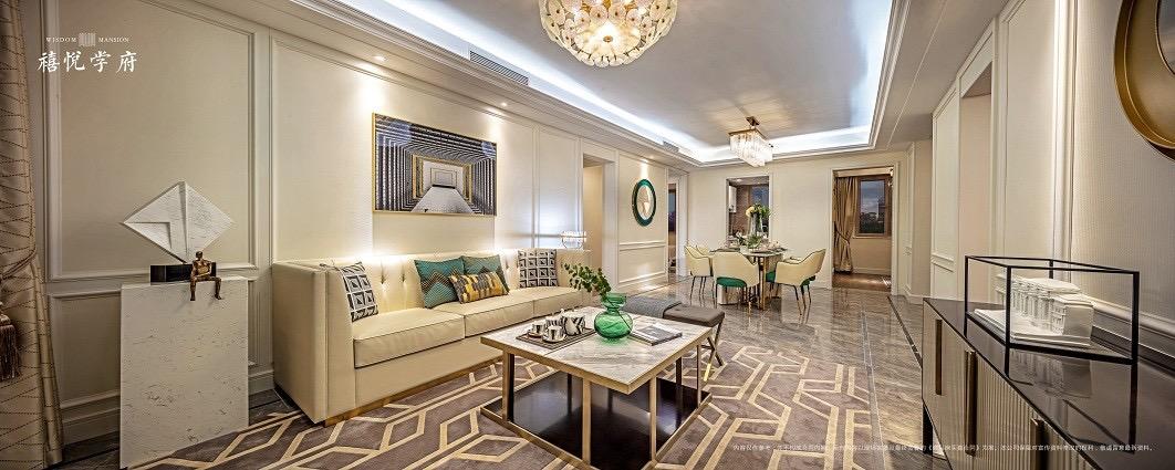 首创禧悦学府D户型样板间客厅欧式豪华客厅设计图片赏析