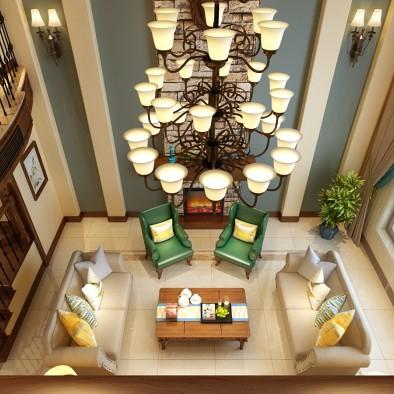 和记黄埔御翠园800平别墅现代美式设计