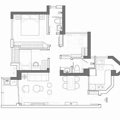 96平米两房户型平面图