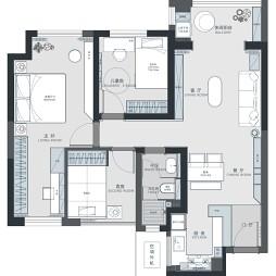 89平米三居室户型图