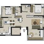 120平米三居室布置户型图