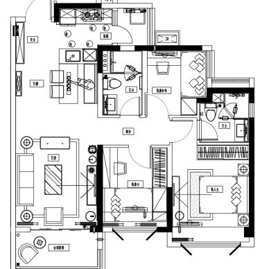 96平米两房户型图