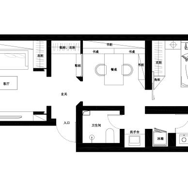 68平米二居室户型图